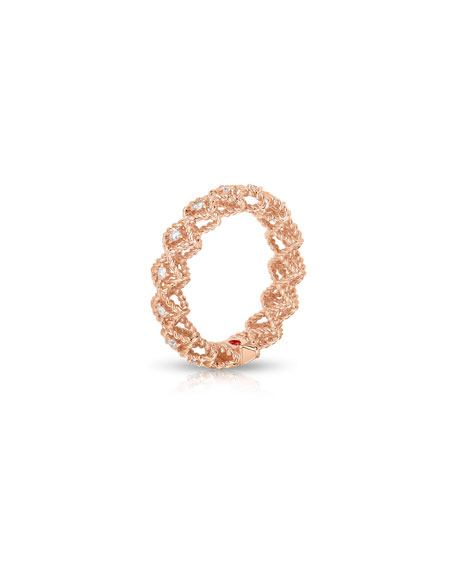 Barocco Single-Row Diamond Ring in 18K Rose Gold