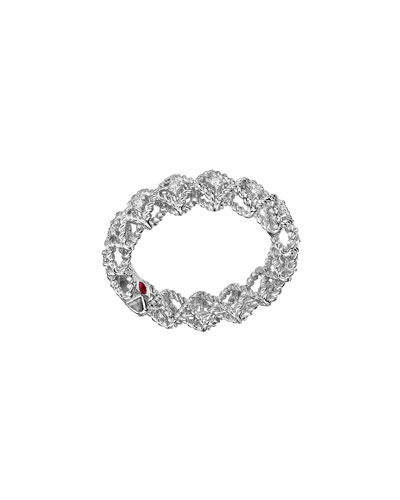 Barocco Single-Row Diamond Ring in 18K White Gold