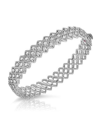 Barocco Three-Row Diamond Bangle in 18K White Gold