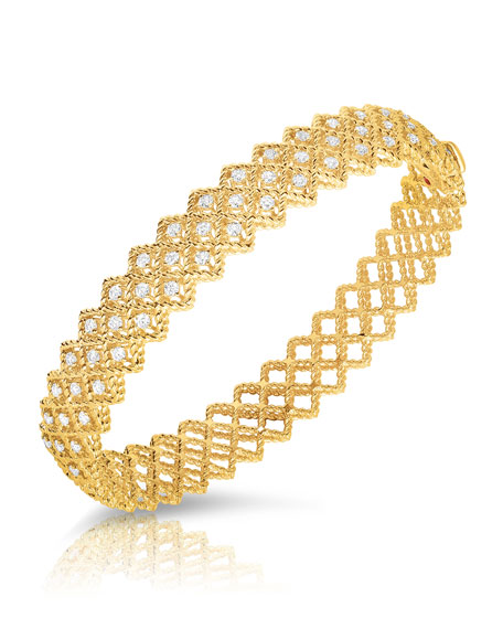 Roberto Coin Barocco Single-Row Diamond Bracelet in 18K Yellow Gold x75CbqT5w9