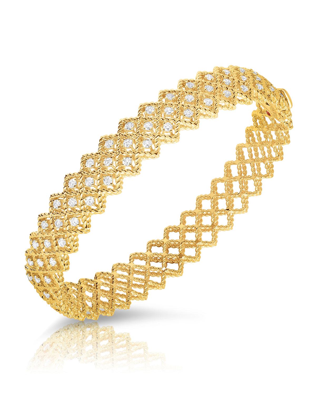 Barocco Three Row Diamond Bracelet In 18k Yellow Gold