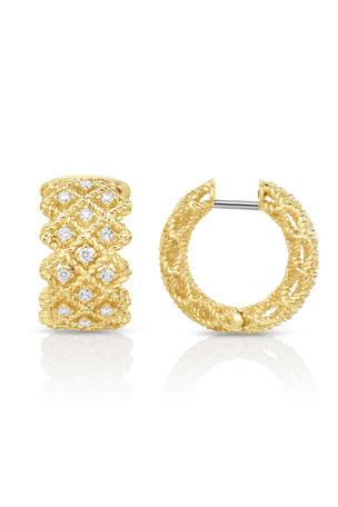 Roberto Coin Barocco Three-Row Huggie Earrings with Diamonds in 18K Gold