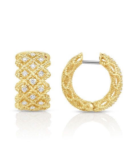 Barocco Three-Row Huggie Earrings with Diamonds in 18K Gold