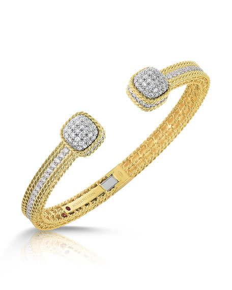 Barocco Diamond Bangle in 18K Gold