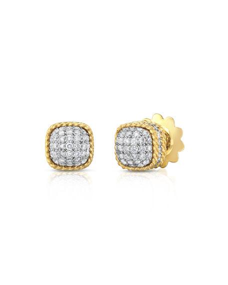 New Barocco Dome Diamond Earrings in 18K Yellow Gold