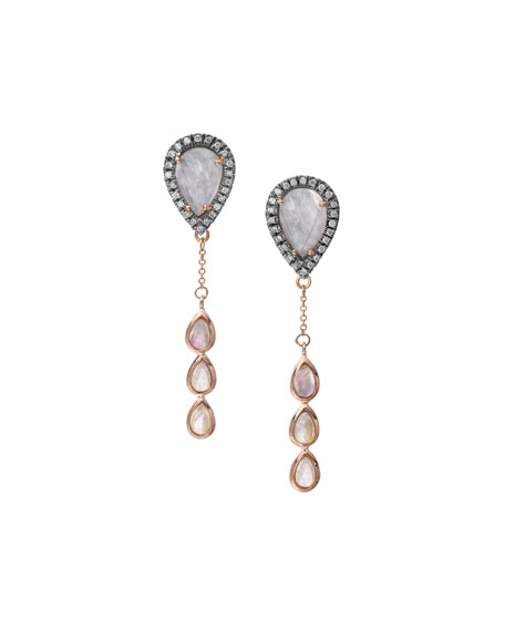 Rainbow Moonstone & Diamond Chain Drop Earrings