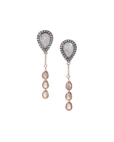 Rainbow Moonstone & Diamond Chain Drop Earrings