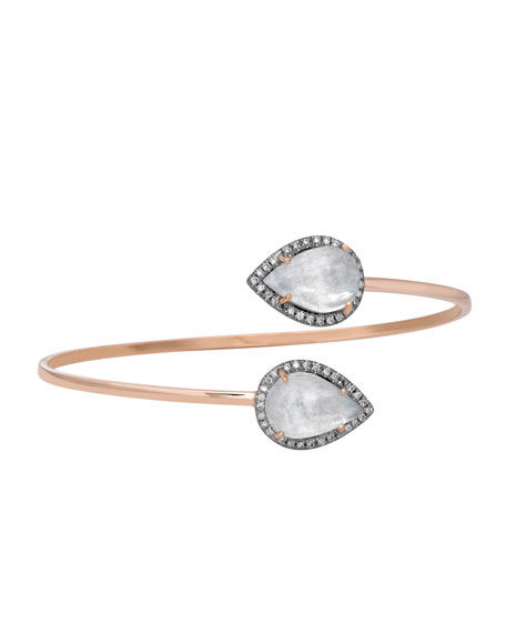 Misahara Time Pear-Shaped Moonstone Bypass Bracelet with Diamonds