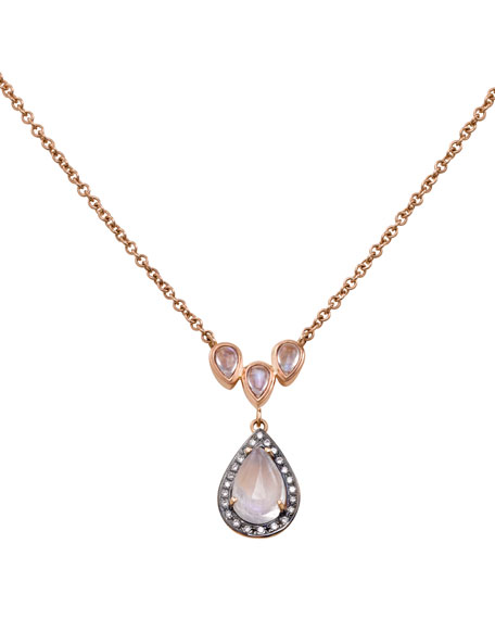 Rainbow Moonstone & Diamond Pendant Necklace in 18K Rose Gold