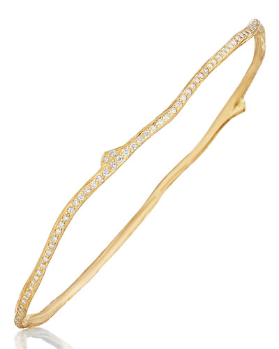 Wonderland 18K Gold Twig Bangle Bracelet with Diamonds