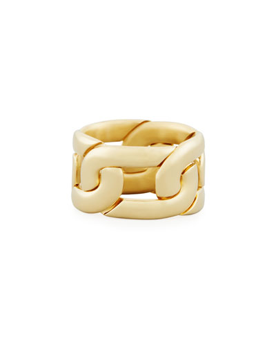 Tango Link Ring in 18K Gold, Size 53