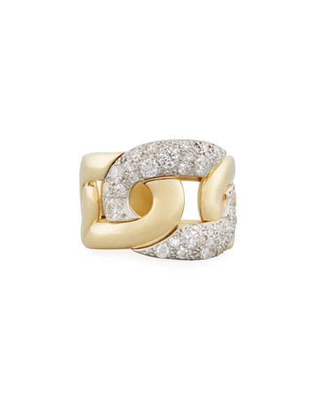 Tango Diamond Link Ring in 18K Gold, Size 53