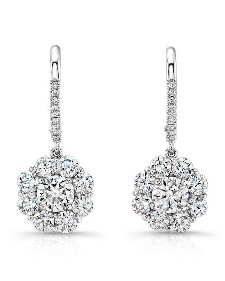 Round Diamond Cluster Drop Earrings
