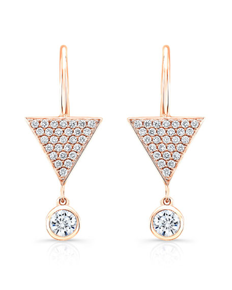 Pavé Diamond Triangle Drop Earrings in 18K Rose Gold