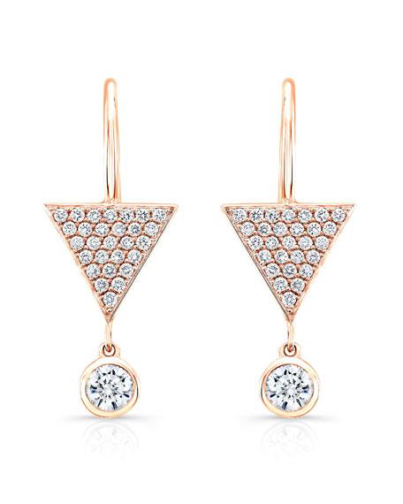 Pavé Diamond Triangle Drop Earrings in 18K Rose Gold