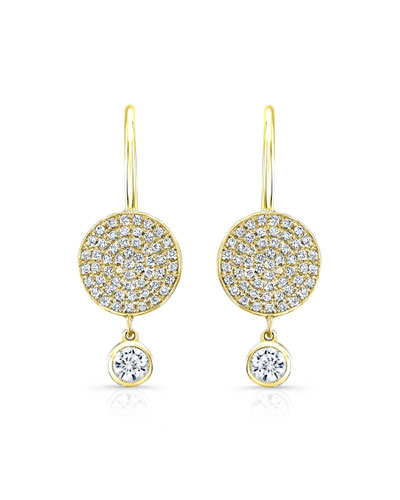 Diamond Disc Dangle Earrings in 18K Yellow Gold