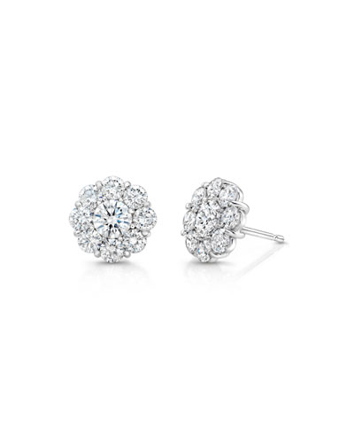 Diamond Cluster Earrings in 18K White Gold