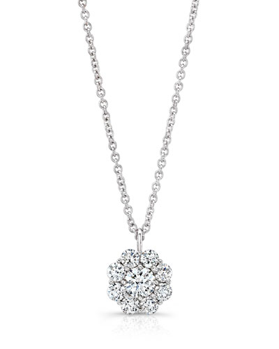 Diamond Cluster Pendant Necklace in 18K White Gold