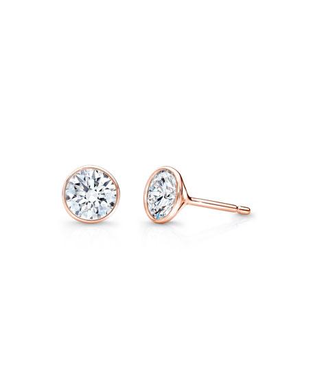 Bezel-Set Diamond Stud Earrings in 18K Rose Gold