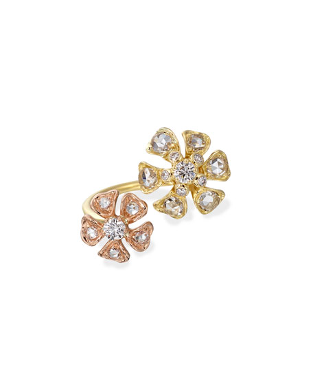 Maria Canale Aster Double-Flower Diamond Ring in 18K