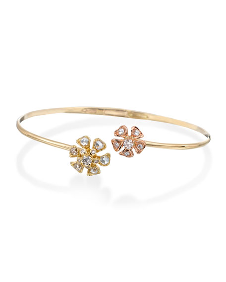 Maria Canale Aster Double-Flower Diamond Bracelet in 18K