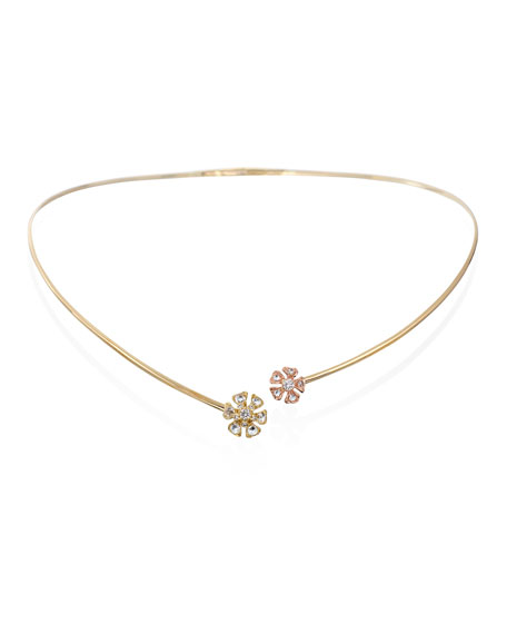 Maria Canale Aster Double-Flower Diamond Collar Necklace in
