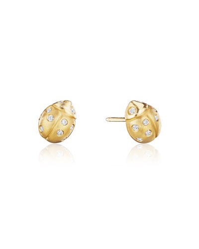 Wonderland Pavé Diamond Ladybug Stud Earrings
