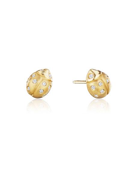 Wonderland Pavé Diamond Ladybug Stud Earrings