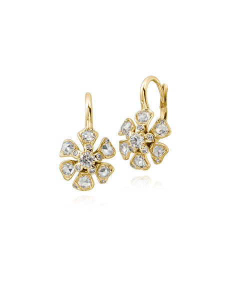 Aster Diamond Flower Drop Earrings in 18K Gold