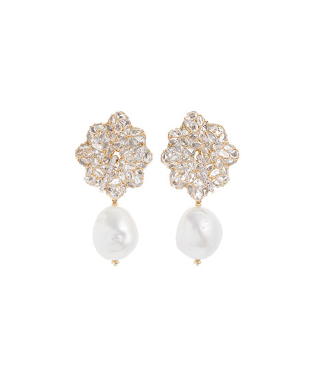 Lotus Earrings with Detachable Pearl Drops