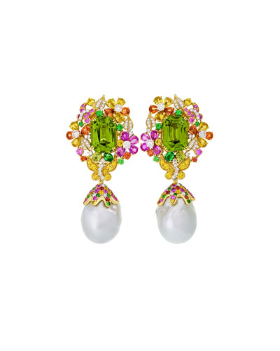 Papillon Pearl Drop Earrings with Peridot, Sapphires, and Diamonds