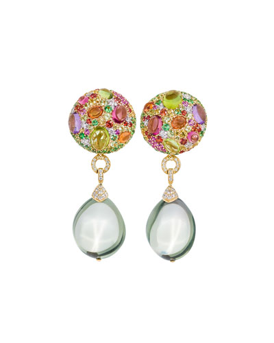 Carnivale Green Amethyst Detachable Drop Earrings