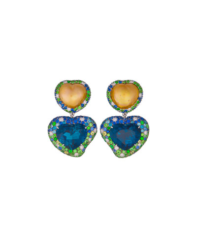 Hearts Desire South Sea Pearl & Blue Topaz Detachable Drop Earrings