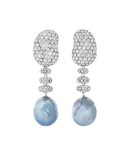 Bliss Diamond & Baroque Pearl Drop Earrings