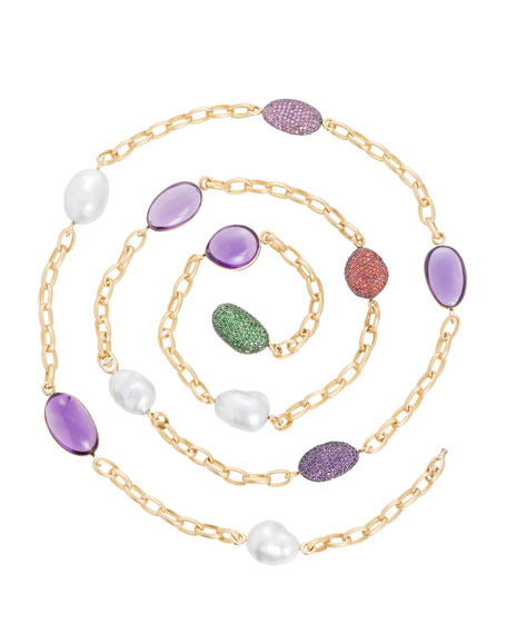 Amethyst & South Sea Pearl Station Necklace