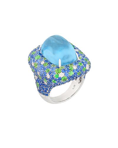 Marbella Aquamarine Cabochon Ring with Diamonds, Sapphire & Tsavorite Garnet