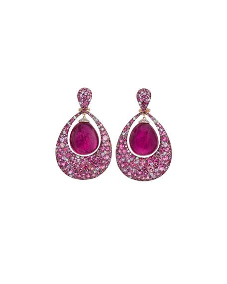 Berrybell Drop Earrings with Rubelite & Diamonds