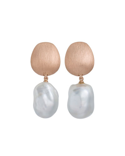 Satin-Finish Earrings with Detachable Pearl Drops in 18K Rose Gold