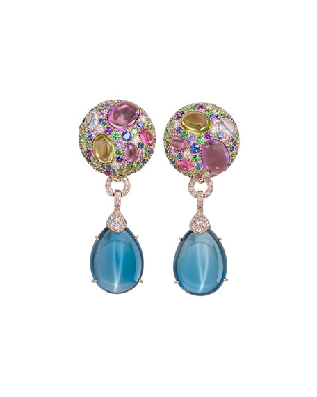 Carnivale Denim Blue Topaz Earrings with Diamonds in 18k Rose/White Gold