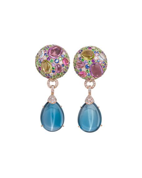 Carnivale Denim Blue Topaz Earrings with Diamonds in 18k Rose/White Gold