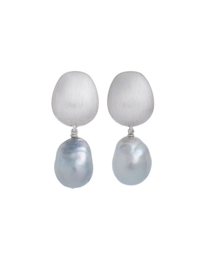 Satin-Finish Earrings with Detachable Pearl Drops in 18K White Gold