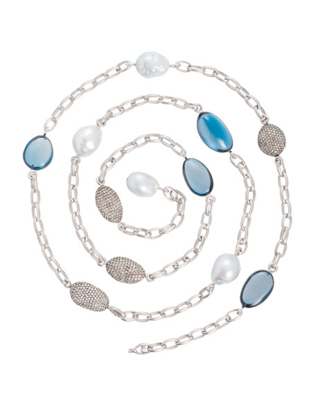 Denim Blue Topaz & South Sea Pearl Station Necklace