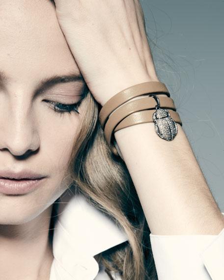Leather Wrap Bracelet with Pavé Diamond Scarab