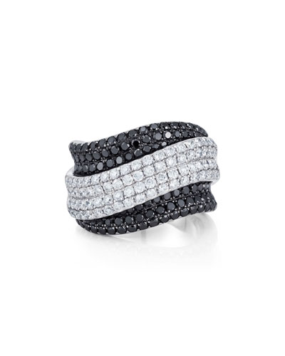 Black & White Diamond Pavé Ring in 18K White Gold, Size 6.5