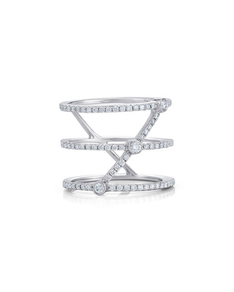 Three-Row Stacked Illusion Ring with Diamonds, Size 6.5