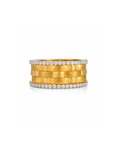 Weave Band Ring in 18K Gold with Diamonds, Size 6.5