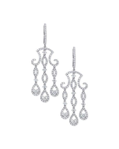 Bessa three drop diamond chandelier earrings in 18k white gold three drop diamond chandelier earrings in 18k white gold aloadofball Choice Image