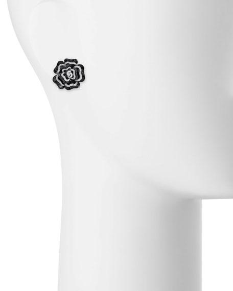 Black Agate & Diamond Flower Earrings