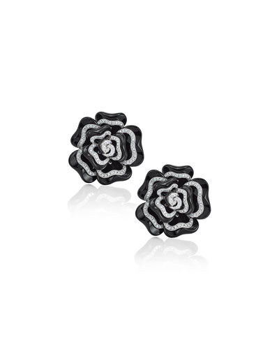 Black Agate & Diamond Flower Earrings