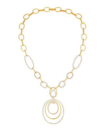 Large Link Pendant Necklace with Diamonds in 18K Gold